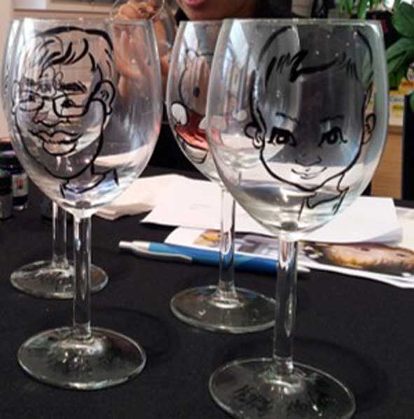 Pre-event activities in Singapore, wine glass caricature