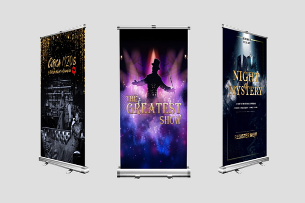 Online event services including design a pull-up banner for your corporate events such as roadshow