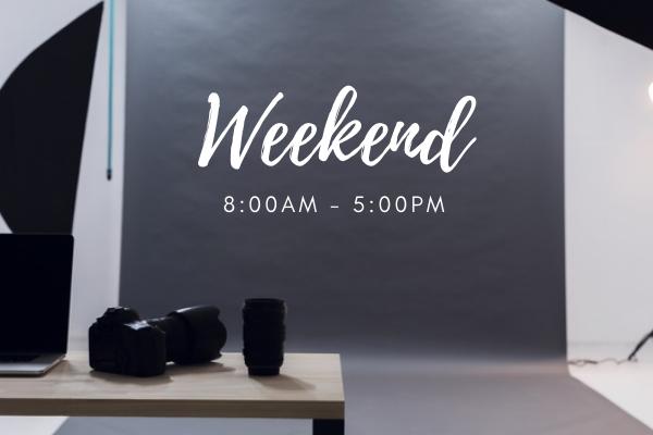 Online event services including studio rental on weekend