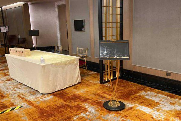 Orchard hotel ballroom registration counter