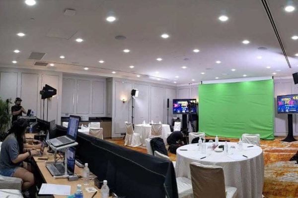 Orchard hotel meeting room setup with green screen